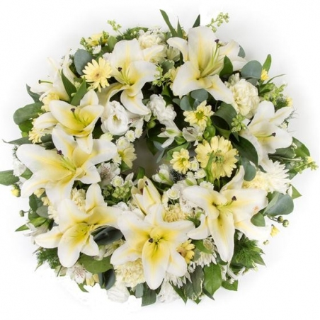 Lemon and White Wreath - same day or named day delivery - Rushes Florist