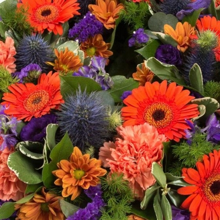 Orange and Purple Wreath - same day or named day delivery - Rushes Florist