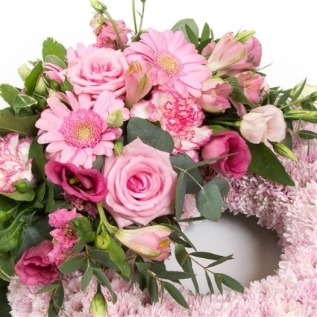 Pink Massed Wreath - same day or named day delivery - Rushes Florist
