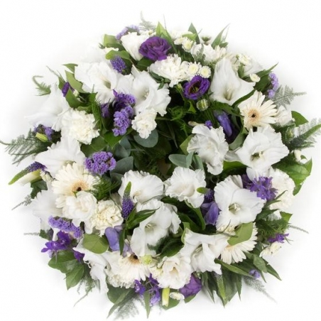 Purple and White Wreath - same day or named day delivery - Rushes Florist