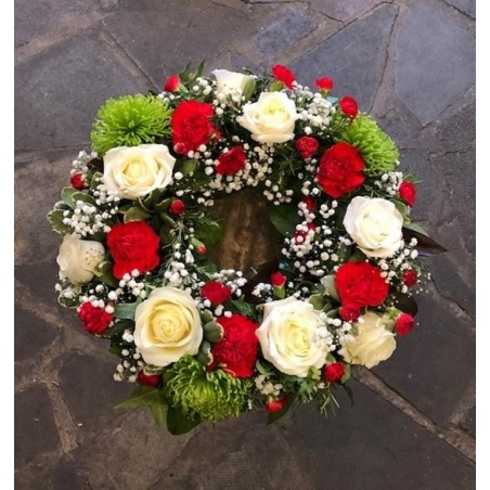 Red, White & Green Wreath - same day or named day delivery - Rushes Florist
