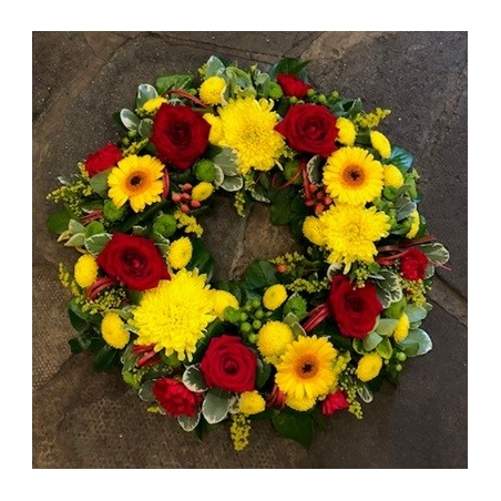 Red, Yellow & Green Wreath - same day or named day delivery - Rushes Florist