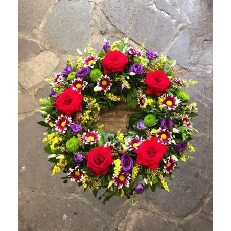 Mixed Flowers Wreath - same day or named day delivery - Rushes Florist