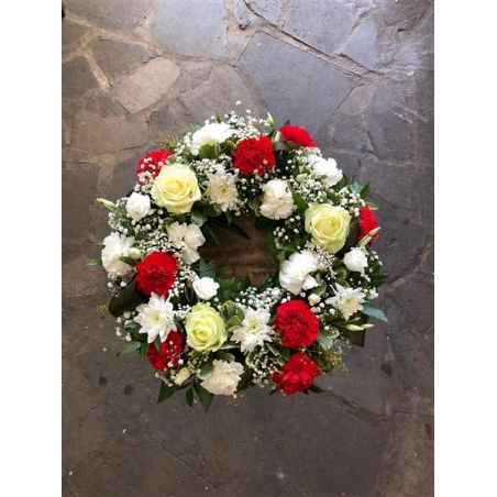 Wreath, red & white - same day or named day delivery - Rushes Florist