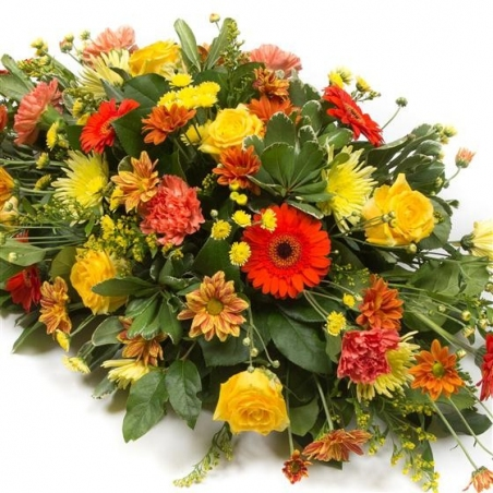 Orange and Gold Spray - same day or named day delivery - Rushes Florist
