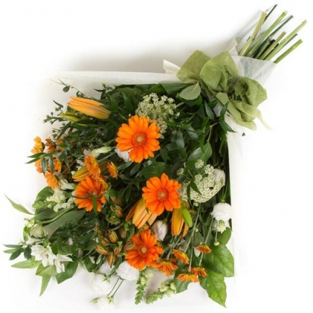 Orange and White Sheaf - same day or named day delivery - Rushes Florist