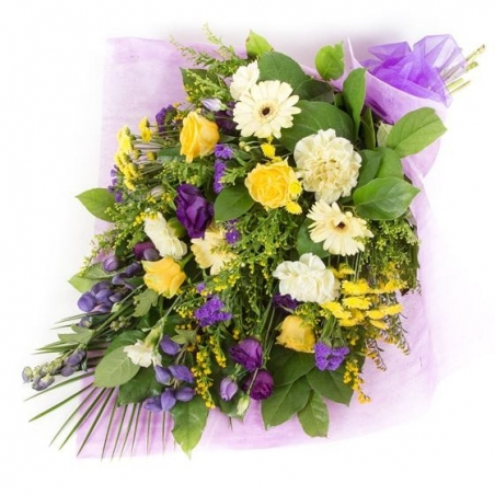 Purple and Gold Sheaf - same day or named day delivery - Rushes Florist