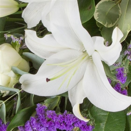 White and Purple Sheaf - same day or named day delivery - Rushes Florist