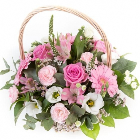 Pink and Cream Basket - same day or named day delivery - Rushes Florist