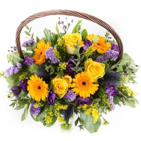 Purple and Gold Basket - same day or named day delivery - Rushes Florist