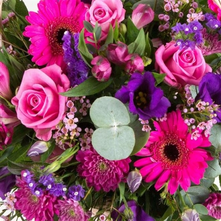 Purple and Pink Basket - same day or named day delivery - Rushes Florist