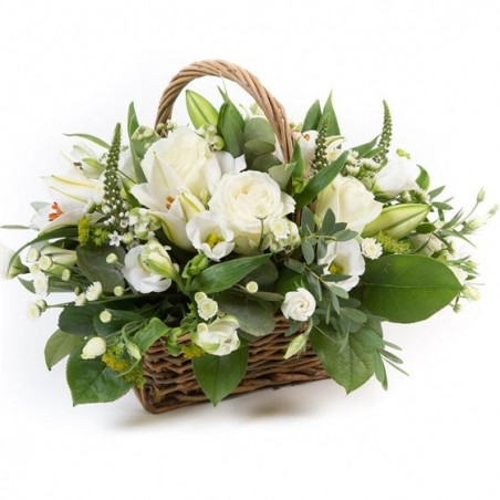 White Basket - same day or named day delivery - Rushes Florist