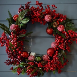 Red Berries & Baubles - same day or named day delivery - Rushes Florist