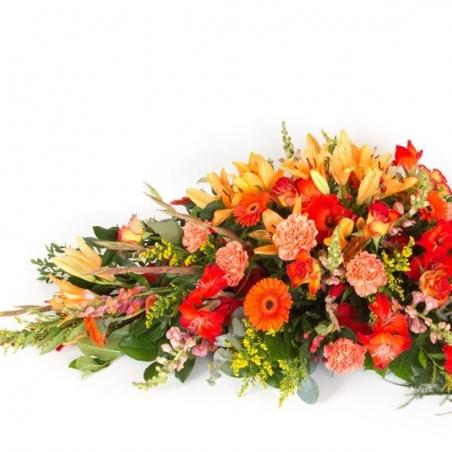 Autumnal Casket Spray - same day or named day delivery - Rushes Florist