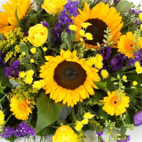 Purple and Gold Casket Spray - same day or named day delivery - Rushes Florist