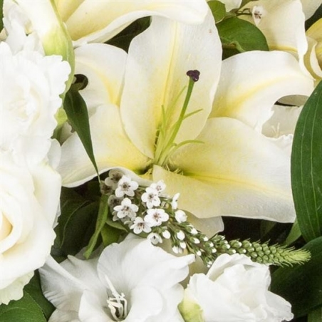 White Lily and Rose Casket Spray - same day or named day delivery - Rushes Florist