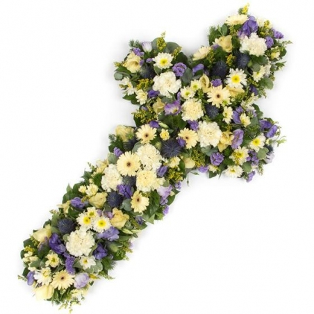Loose sympathy Cross - same day or named day delivery - Rushes Florist