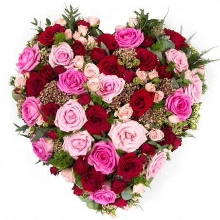 Mixed Rose Heart - same day or named day delivery - Rushes Florist