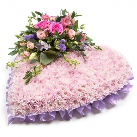 Pink Massed Heart - same day or named day delivery - Rushes Florist
